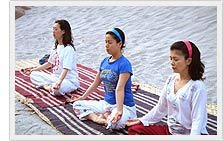 Yoga class at river side - Tapovan